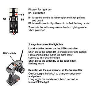 RC LED Light Bar Roof Lamp Headlight Tail Light Kit Bumper Light Compatible with Traxxas RC Car Truck Crawler Tamiya Losi HPI Rustler Axial Police Lights (100mm 1 Bar)