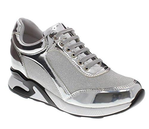 Moca Sports-02 Femmes Casual Deux Tons Faux Cuir Verni Avec Sneaker En Tissu Scintillant Argent