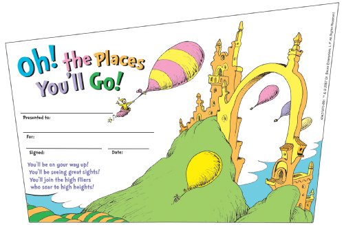Eureka Back to School Dr. Seuss, Oh, The Places You'll Go' Recognition Awards for Kids, 36pc. 8.5'' W x 5.5'' H