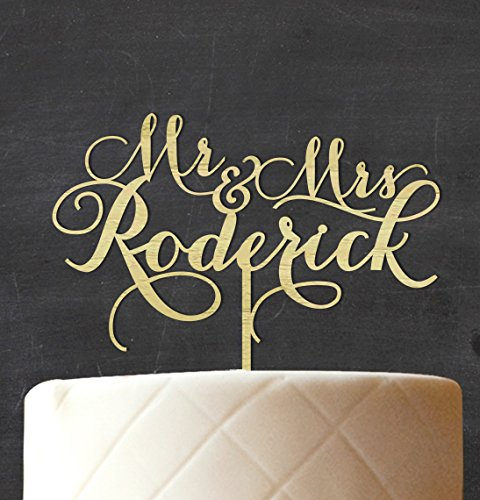 """""""Mr & Mrs"""" Custom Wedding Cake Topper Personalized Rustic Wooden Cake Topper Cake Decoration 8""""-9"""" Inches Wide"""