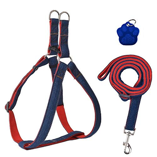 KOOLTAIL No Pull Dog Harness and Leash Set Adjustable Basic Nylon Step in Heavy Duty Vest Outdoor Walking with ID Tag
