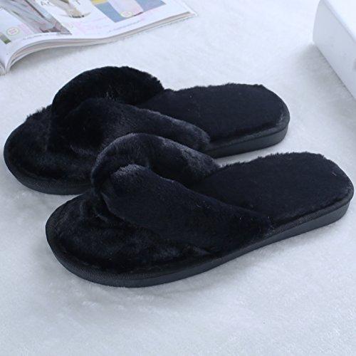 Zapatillas De Deporte De Mujer Suave Zapatillas De Felpa Zapatillas De Interior De Felpa Sandalias Negro Deslizador