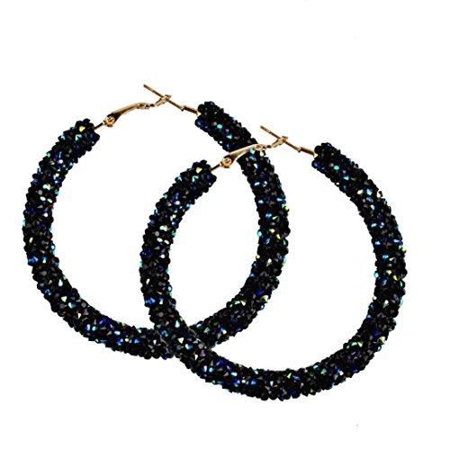 Hoop Earrings, Women 1 Pair Fashion Big Circular Shiny Sequins Charming Earrings Jewelry 5 Colors (Black)