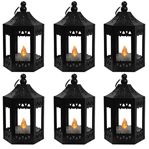 6pc Mini Black Candle Lanterns with Flickering LED Tea Light Candle, Batteries - Custom Lantern Hanging