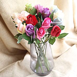 Iusun Artificial Flowers 6 Pcs Rose Real Looking for DIY Floral Wedding Bouquet Centerpieces Arrangements Party Festival Holiday Home Plant Decorations Valentines Gift Hot Ornament 4