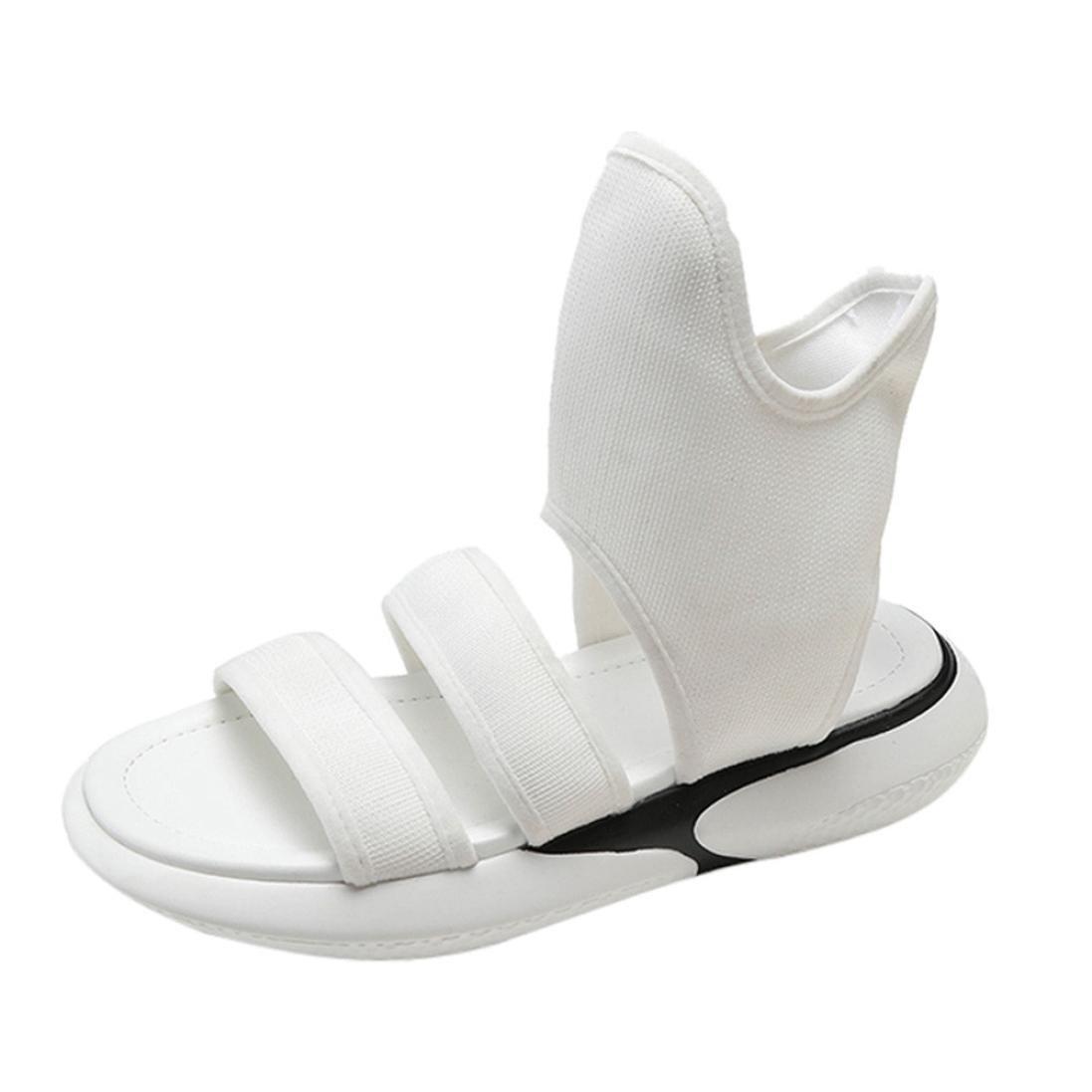 ??Sandales Femme??Lolittas Noir Rond Vintage Bottines ??Sandales Chiffon Secouer D Chaussures Sandales D éTé Bout Rond Blanc cb8c85b - shopssong.space