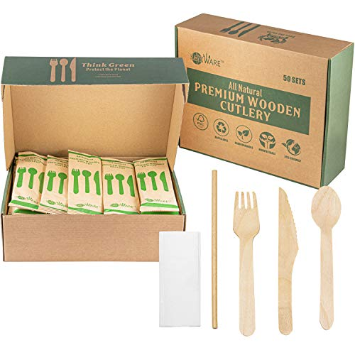 Disposable Wooden Cutlery Set – 50 Set Combo Pack Camping Utensils (Fork, Knife, Spoon, Paper Straw and Napkin…