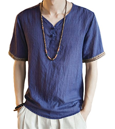 autumn retro national style men embroidered three quarter sleeve linen t shirt solid tang costume linen shirt big color6 XL