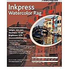 The especially white coating provides for excellent color reproduction that will turn photographs into portraits and your watercolors and oil paintings into fine works of art Watercolor Rag is white, with a finely embossed linen texture. Idea...