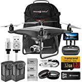 DJI Phantom 4 Pro Plus Obsidian Bundle Upgrade Kit w/ Drone World Black Backpack Travel Pack, Lens Filters, 1 Extra Battery (2 Total) Triple Battery Charging Hub, 32 GB and More