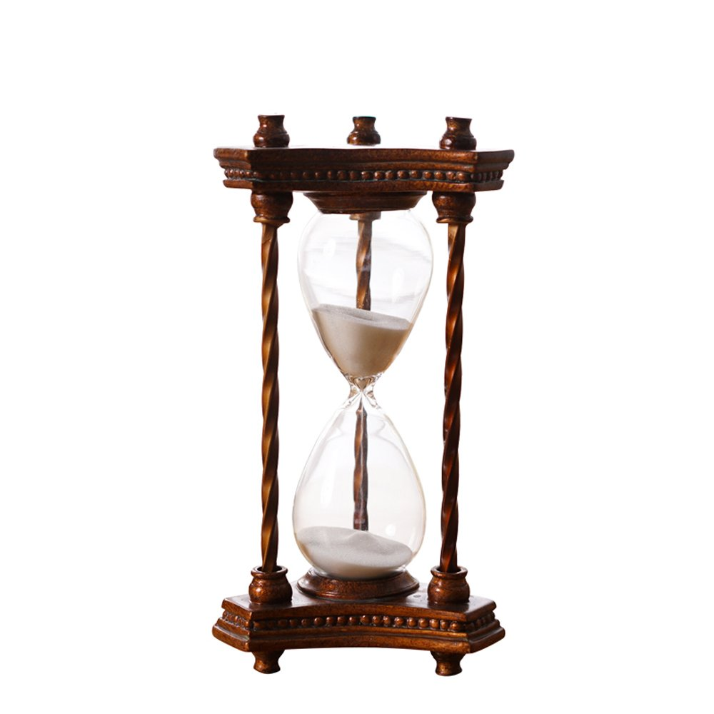 Vintage Hourglass Sand Timer 30 Minutes Brown Red