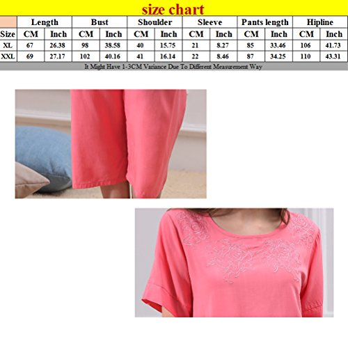 Zhhlinyuan Summer Loose Nightwear Set Casual Womens Simple Solid Color Pyjama Pink