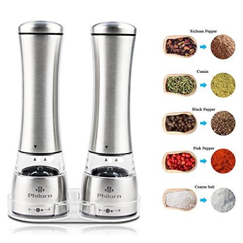 Salt and Pepper Shaker Set of 2, Philorn Mannual Stainless Steel Pepper Mills and Salt Mills, Grinders with Adjustable Coarseness, Ceramic Rotor Grinder with Acrylic Tray by PHILORN
