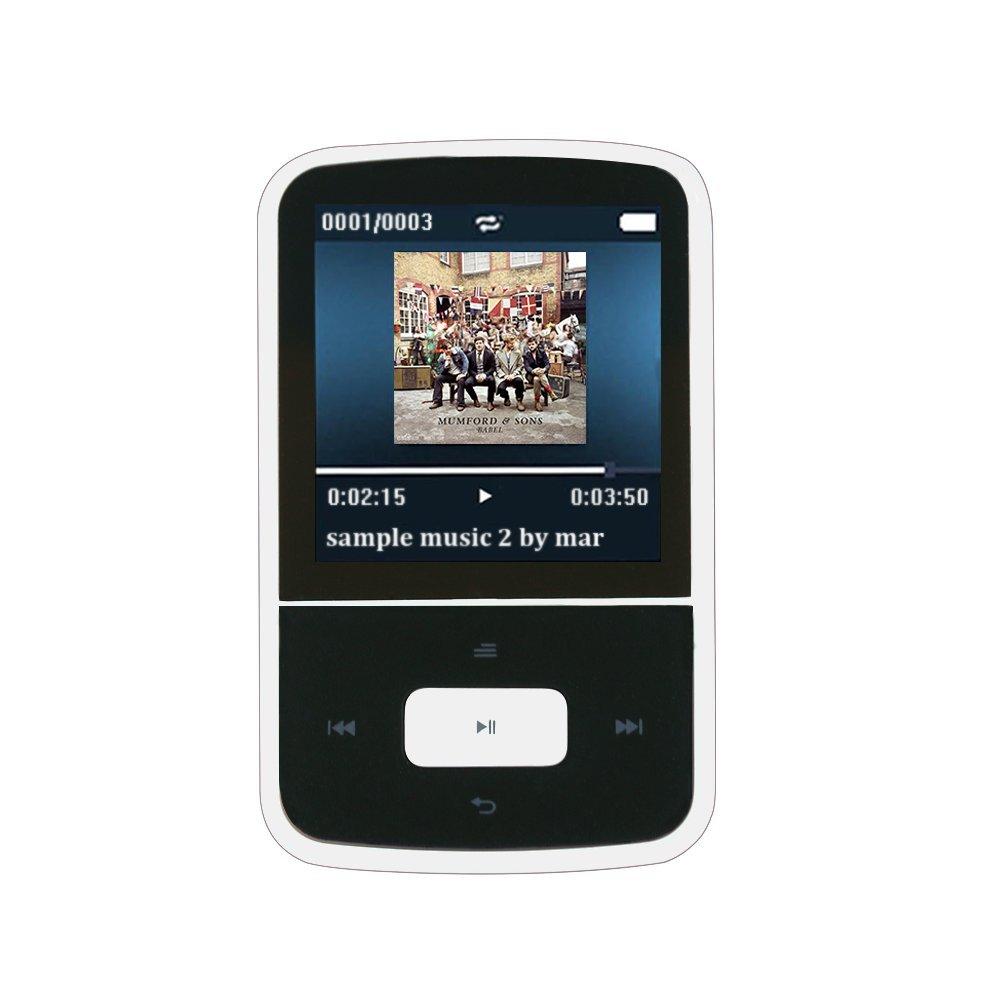 AGPTEK G05W- Mini Clip Bluetooth Reproductor de MP3 8 GB TFT Pantalla 1.5 Pulgadas con Radio FM