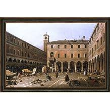 """Canaletto Campo di Rialto - 18.1"""" x 27.1"""" Framed Premium Canvas Print"""