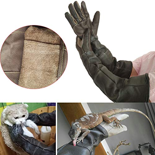 (LJNGG Anti-Scratch Anti-bite Gloves Pet Dog Cat Snake Lizard Bird Animals Handling Protection Protective Gloves for Feed Bath Groom (Palm Width 3.15