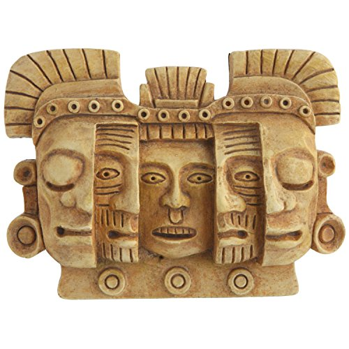 (Culture Spot Mayan Mask of Death and Rebirth Human Evolution Wall Art Relief | Wall Hanging Sculpture | Stone Finish | Ready to Hang | Colombian Design | Small )