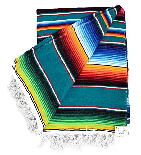 Authentic Mexican Serape Blanket - Multi-color Lightweight Handmade Mexican Saltillo Blanket / Classic Mexican Style Falsa, Stripe Pattern, Throw, Beach blanket Tapestry, or Yoga Blanket. Hand Woven