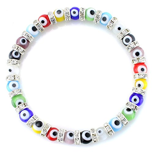 JewelrieShop Turkish Evil Eye Bracelet Murano Glass Beads Beaded Clear Crystal Spacer Bracelet for Women Girls (6mm Multi-Color Eye Beads)