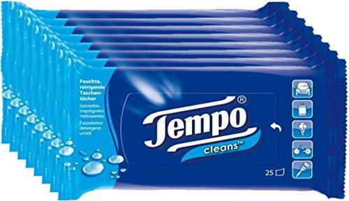 Tempo Cleans feuchte Taschentücher, 8er Pack (8 x 25 Tücher)