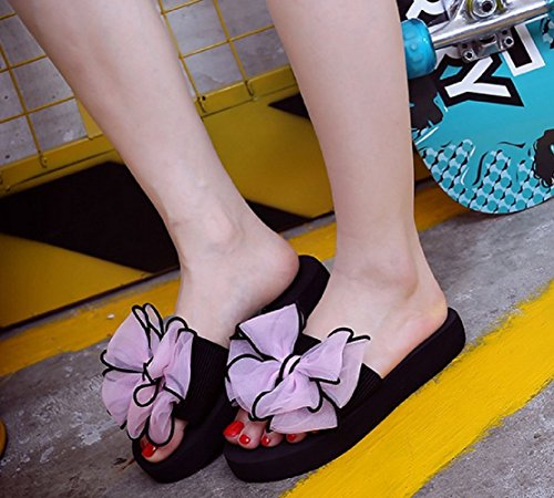 Bettyhome Women Lady Girls Sexy Flowers Thongs Comfortable Casual Wedges Sandals Beach Slippers Pink 8o1uQ