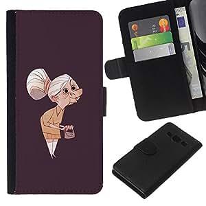 iBinBang / Flip Funda de Cuero Case Cover - Granny Vecchia Signora Painting Art Clutch Capelli grigi - Samsung Galaxy A3