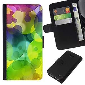 EJOY---La carpeta del tirón la caja de cuero de alta calidad de la PU Caso protector / LG OPTIMUS L90 / --Patrón Colores Círculo verde lima