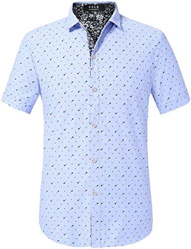 SSLR Men's Prints Cotton Button Down Casual Short Sleeve Shirts (Large, Blue)