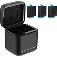 Battery Charger Compatible with GoPro Hero 9 Black Waterproof Storage Carry Case (1 Charger + 3 1800mAh Batteries)