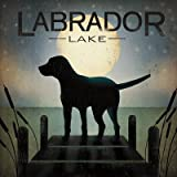 Moonrise Black Dog - Labrador Lake Art Poster PRINT Ryan Fowler 18x18