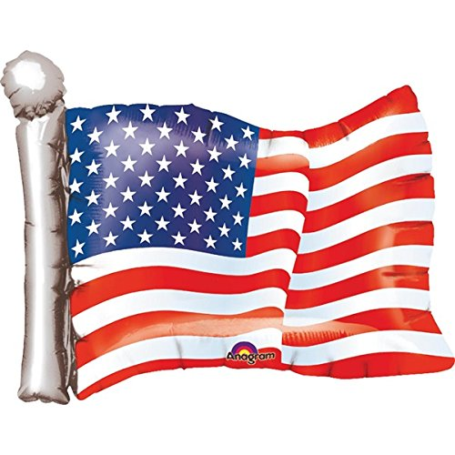 TCDesignerProducts American Flag Shaped Foil Balloon, 27 Inches