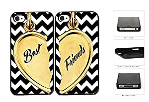 Best Friends Heart Charm Black And White Chevron Hard Plastic Snap On Cell Phone Case Apple iPhone 4 4s