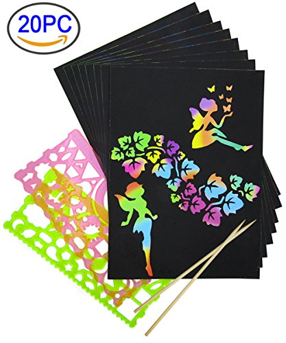 Rainbow Scratch Paper, Mega Value 20 Sheet Rainbow Art Scratch Boards.( 2 stylus and 2 rulers (Mega Doodle)