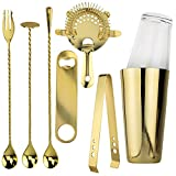 Image of Prince of Scots Professional Series 8 Piece Boston Style Cocktail Shaker ~ Gold