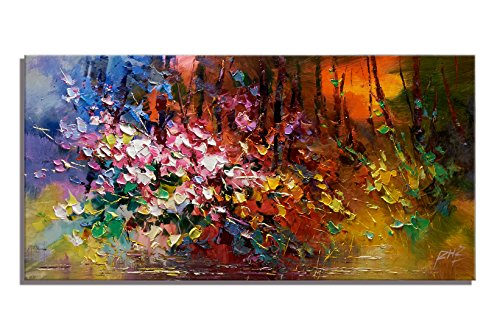 Dummy Rope Rose Set (Modern Wall Art Home Decoration Abstract Oil Painting Colorful Flowers and Tree Print With Embellishment Cubism Wall Canvas Decor for Living Room Bedroom Office Unframed (24x48 inch))
