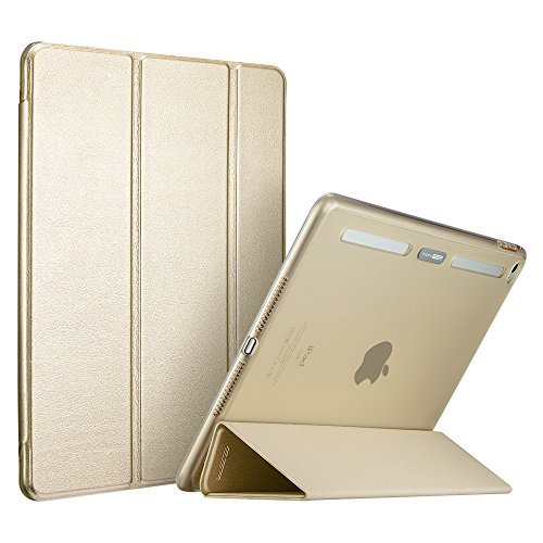 ESR iPad Pro 12.9 inch Case, Soft TPU Bumper Edge Slim Fit Smart Case Cover with Auto Sleep/Wake for Apple iPad Pro/iPad 7th Generation 12.9 inches (2015 Edition)_Champagne Gold