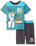 Disney Little Boys' Toddler 2 Piece Frozen Olaf Knit Short Set with Sublimation Printed Pocket, Turquoise, 3T