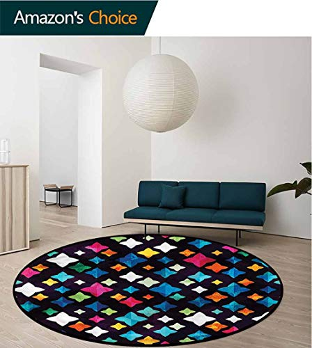 RUGSMAT Fractal Modern Simple Round Rug,Trippy Diamond Shaped Star Foam Mat Bedroom Decor Diameter-59