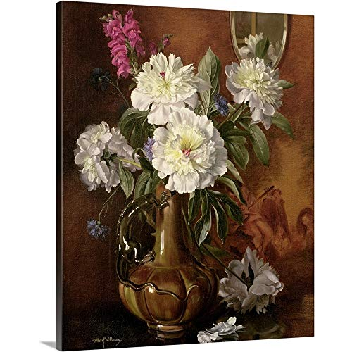 (GREATBIGCANVAS Gallery-Wrapped Canvas Entitled White Peonies in a Glazed Victorian Vase by Albert Williams 19