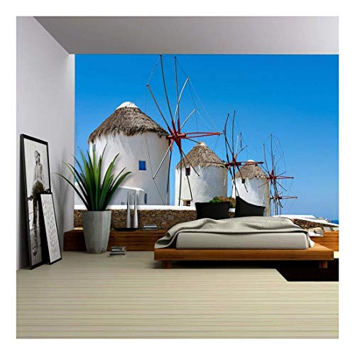 (wall26 - Traditional White Greek Windmills Popular Tourist Destination on Mykonos Island, Greece, Europe - Removable Wall Mural   Self-Adhesive Large Wallpaper - 100x144 inches )