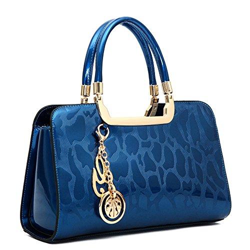 (HUOBAO Women's Patent Leather Handbags Designer Totes Purses Satchels Handbag Ladies Shoulder Bag Embossed Top Handle Bags (Blue))