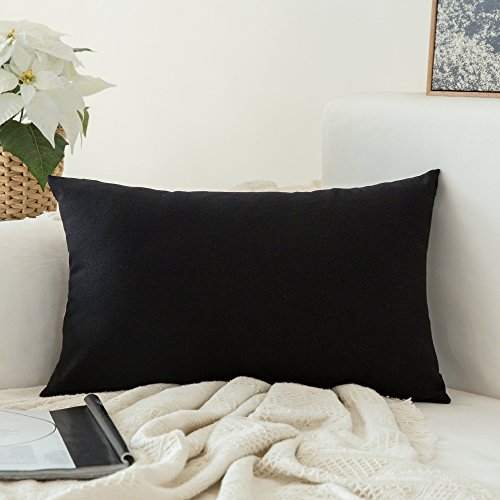 MIULEE Decoration Faux Linen Burlap Decor Square Throw Cushion Cover Cushion Case for Living Room Sofa Bedroom Car 12 x 20 Inch 30 x 50 cm