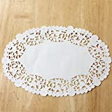 PEPPERLONELY 6 x 9 Inch White Oval Paper Doilies 50 Count