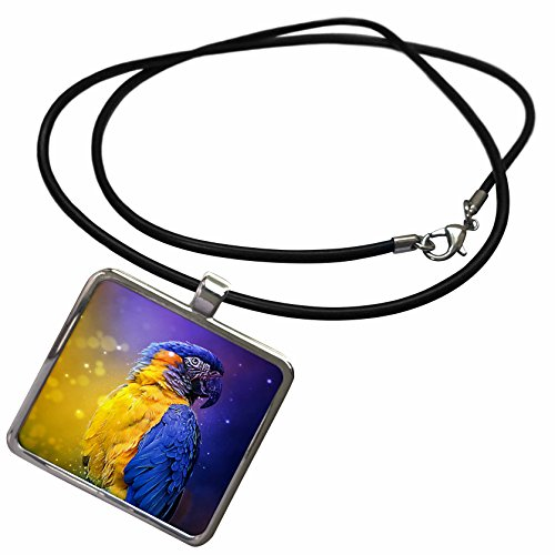 3dRose Sven Herkenrath Animal - Photograph Of A Colorful Parrot On Purple And Yellow Background - Necklace With Rectangle Pendant (ncl_286409_1)]()