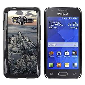 Be Good Phone Accessory // Dura Cáscara cubierta Protectora Caso Carcasa Funda de Protección para Samsung Galaxy Ace 4 G313 SM-G313F // Sunset Sea Cliffs Ocean Clouds Blue