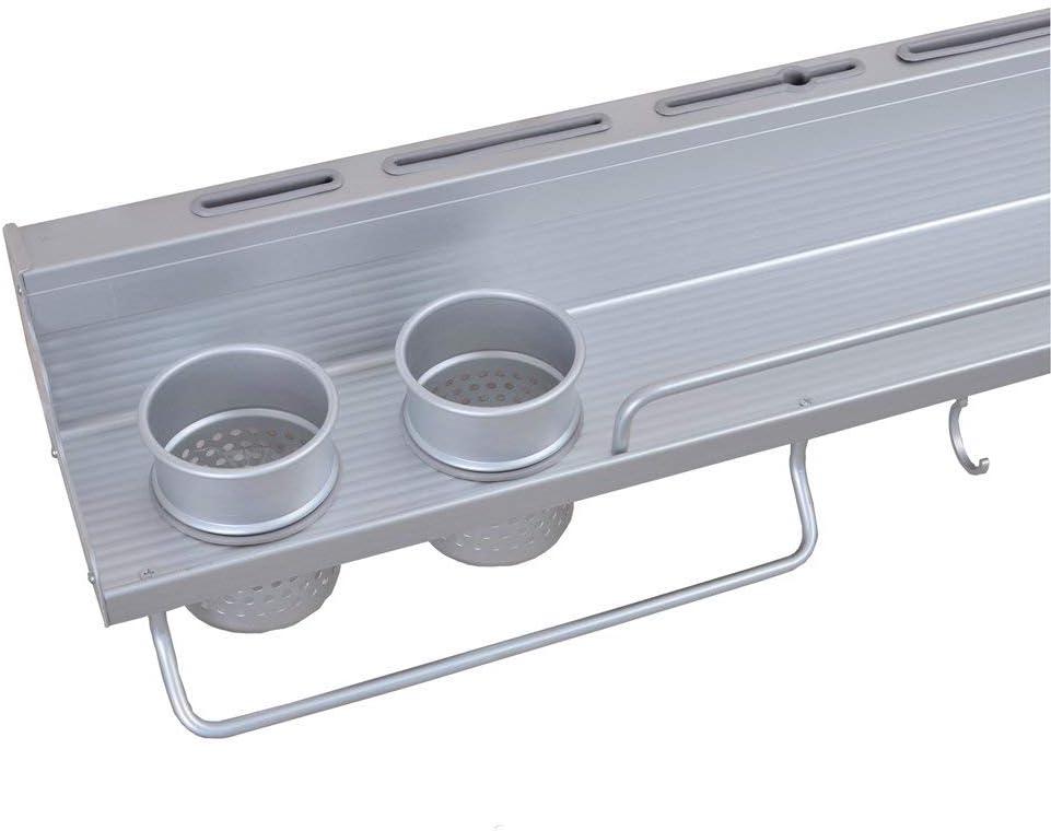 crochets en aluminium JmeGe /Étag/ère murale multifonction 6 en 1 pour casseroles avec porte-bouteilles argent/ées et porte-couverts