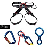 Climbing Harness + Locking Carabiner + Figure 8 Descender, AYAMAYA Climbing Gear Half Body Harness Seat Belts Screwgate Twist Lock Caribeaner Rescue 8 Descender for Rock Climbing Tree Work Arborist