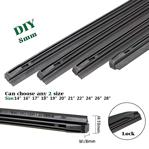 QUALITY BEMOST Auto Car All-Season Windshield Wiper Blades Refills Natural Rubber Strips (26