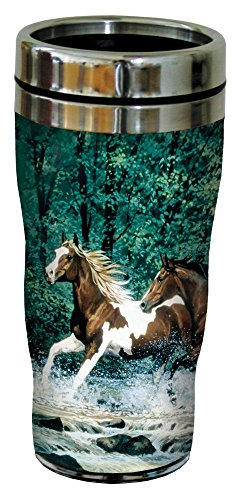Tree-Free Greetings 25525 Chris Cummings Spring Creek Run Sip 'N Go Stainless Lined Travel Mug, (Horse Travel Mugs)
