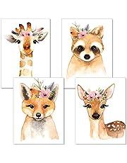 ARTpin® 3er Set Poster Kinderzimmer Babyzimmer A4 Ohne Rahmen - Dekoration Mädchen Junge - Waldtiere